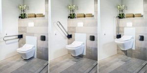 Elektrisch höhenverstellbare WCs und Waschtische