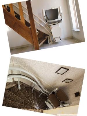 Einbaubeispiele Treppenlift gerade und kurvig